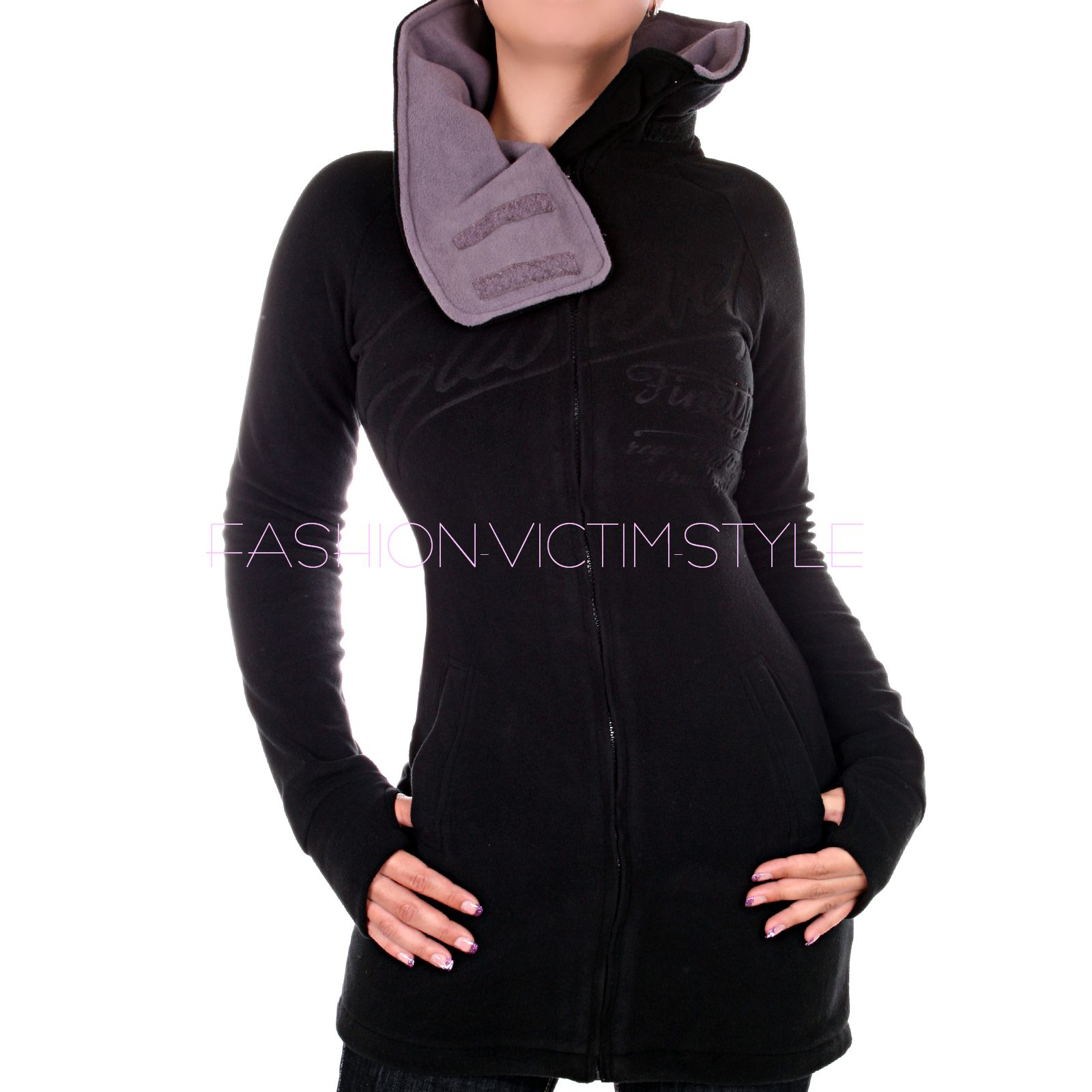 damen fleece jacke pullover fleece mantel sweatjacke lange. Black Bedroom Furniture Sets. Home Design Ideas
