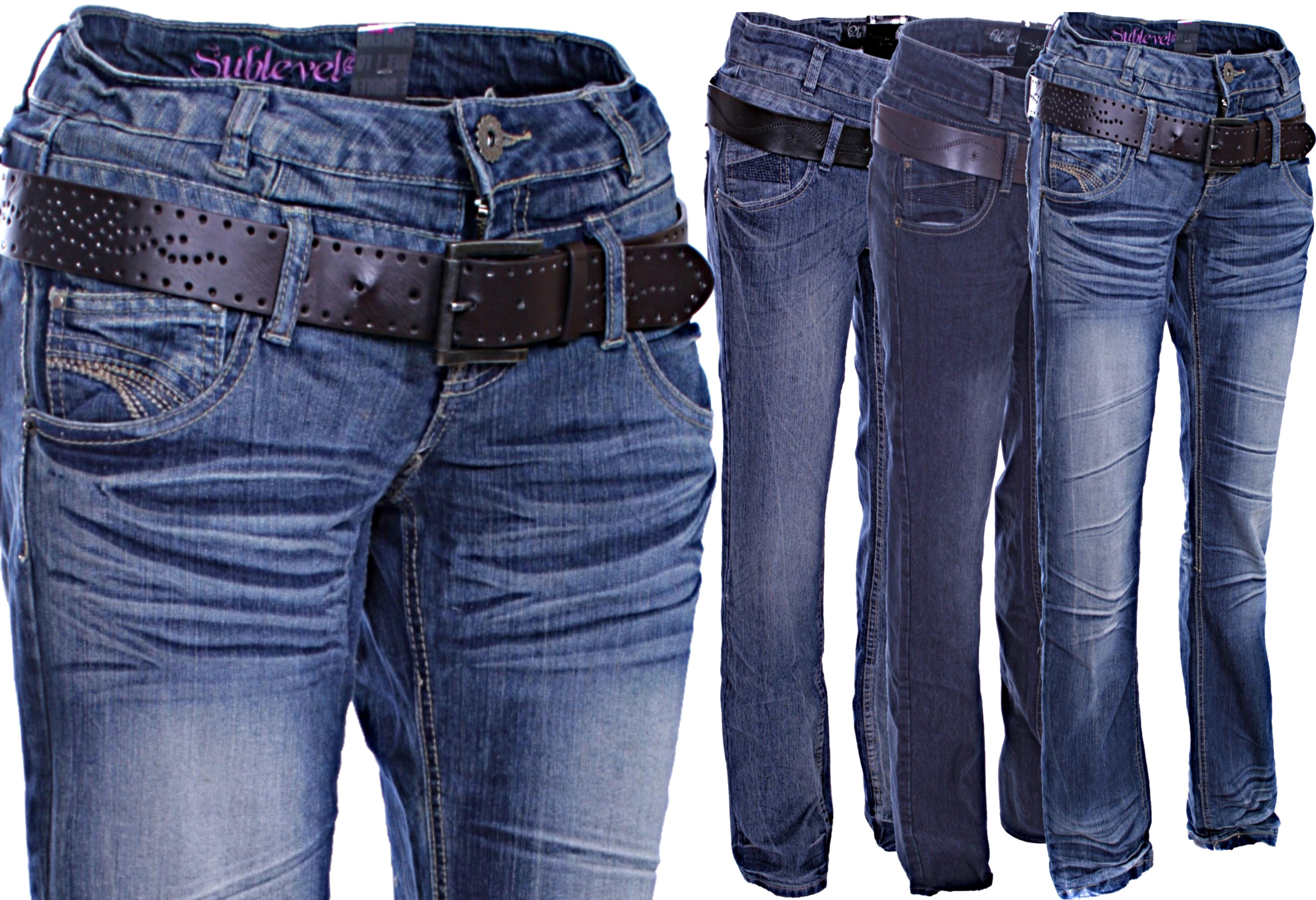 urban surface damen jeans hose stretch boysfit doppelbund mit g rtel xs s m l xl ebay. Black Bedroom Furniture Sets. Home Design Ideas