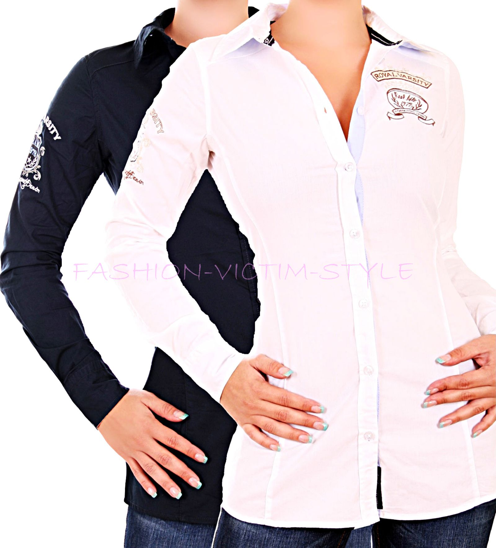 nue damen bluse hemd longsleeve figurbetonend badge. Black Bedroom Furniture Sets. Home Design Ideas