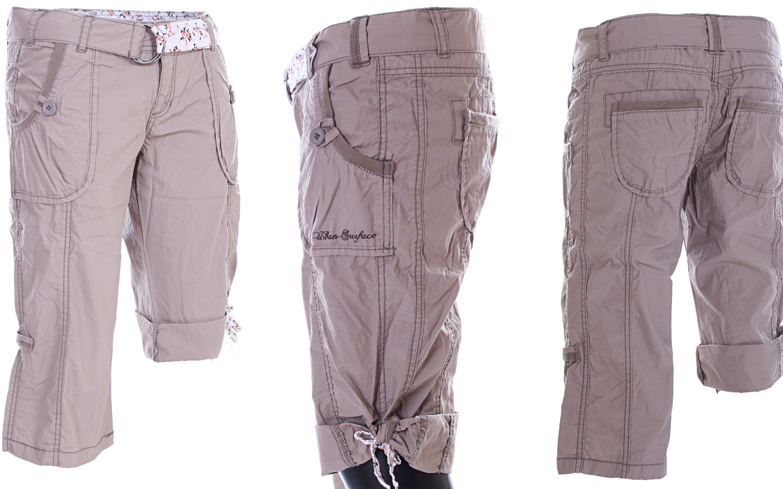 neu damen 2 in 1 cargo hose capri bermuda shorts schwarz sand weiss xs s m l xl ebay. Black Bedroom Furniture Sets. Home Design Ideas