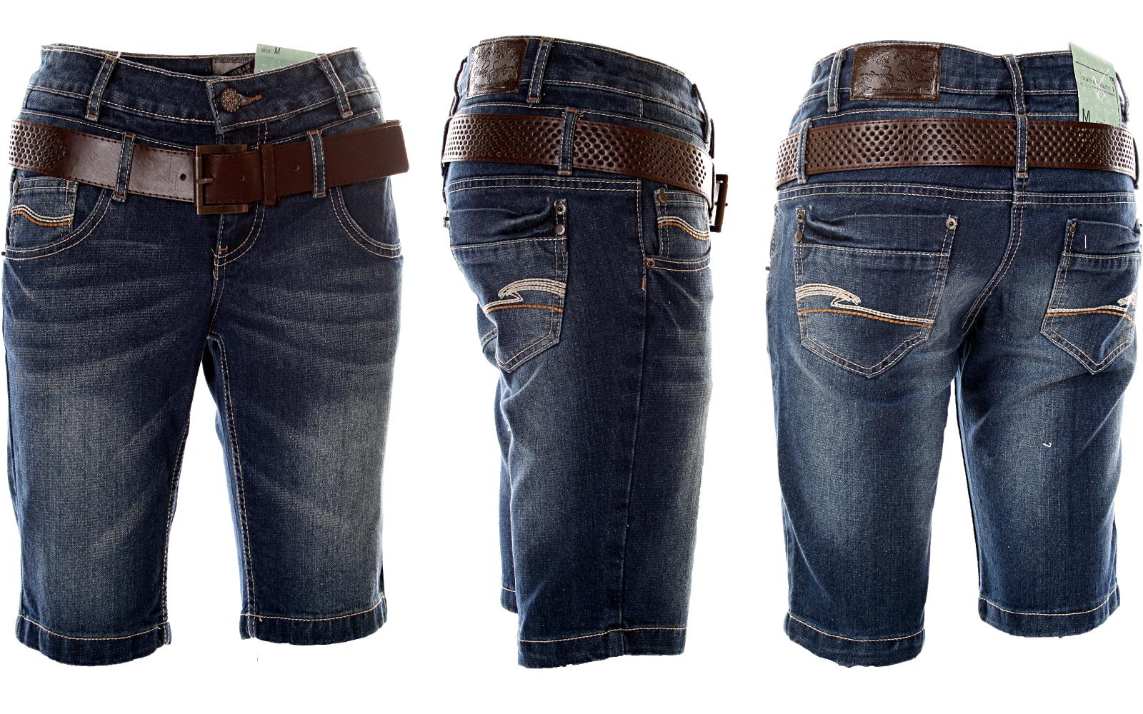 neu sexy damen bermuda g rtel shorts jeans short dark blue denim xs s m l xl ebay. Black Bedroom Furniture Sets. Home Design Ideas