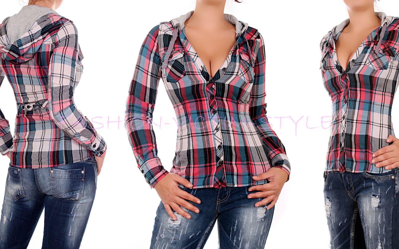 fresh made blusen hemd kapuze karo long top tunika bluse. Black Bedroom Furniture Sets. Home Design Ideas