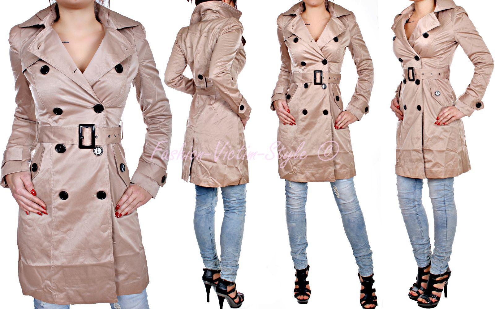 damen jacke trenchcoat mantel pea coat bergangs jacke schwarz beige ebay. Black Bedroom Furniture Sets. Home Design Ideas