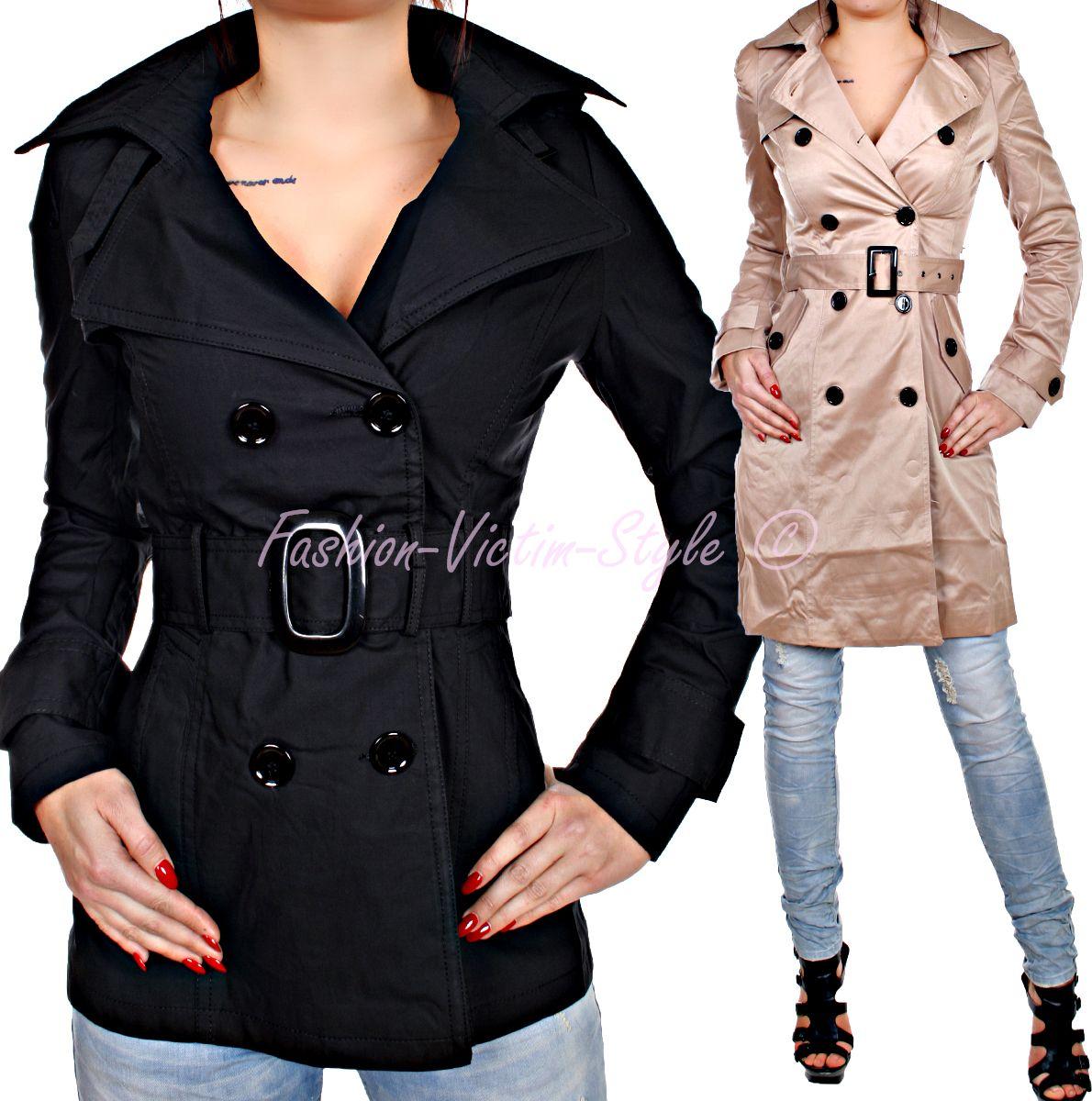 damen jacke trenchcoat mantel pea coat bergangs jacke. Black Bedroom Furniture Sets. Home Design Ideas