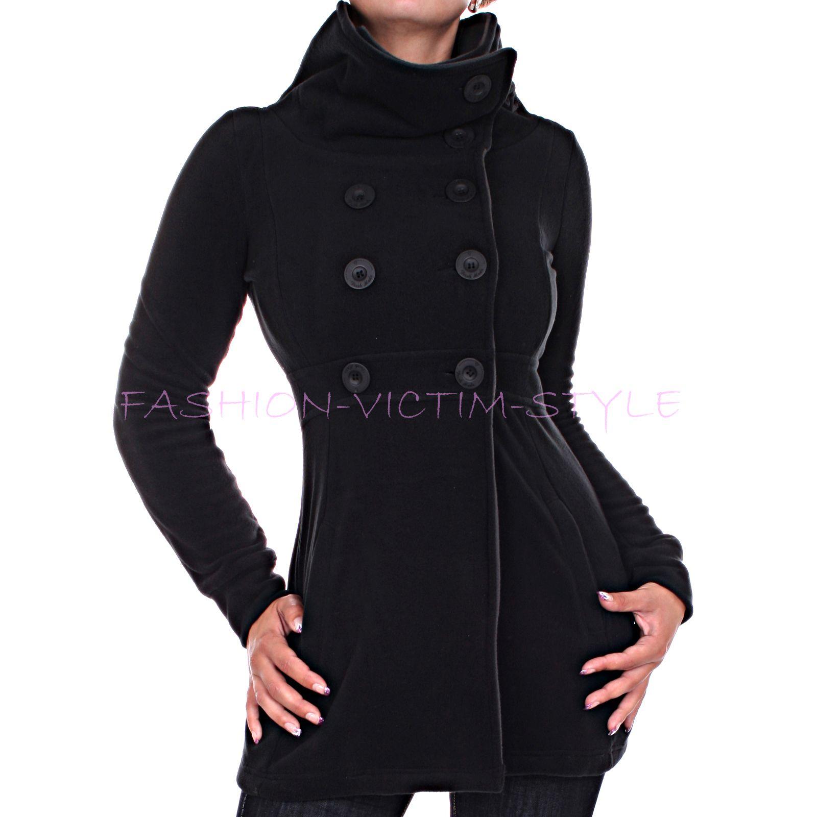 damen fleece mantel fleece jacke kurz mantel a line ebay. Black Bedroom Furniture Sets. Home Design Ideas