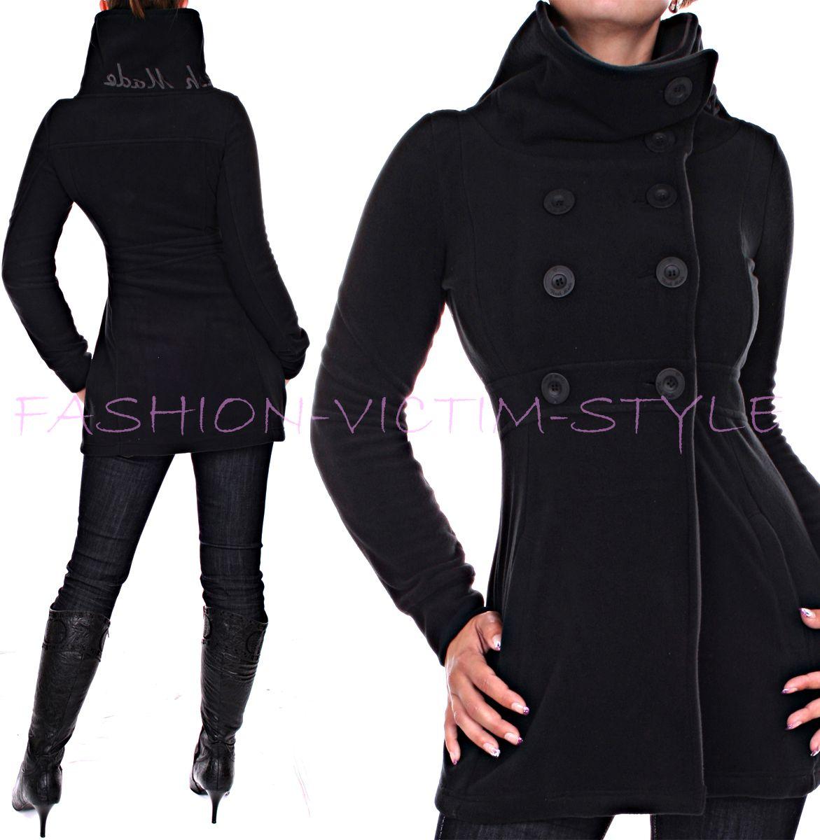 ladies fleece coat fleece jacket short coat a line ebay. Black Bedroom Furniture Sets. Home Design Ideas
