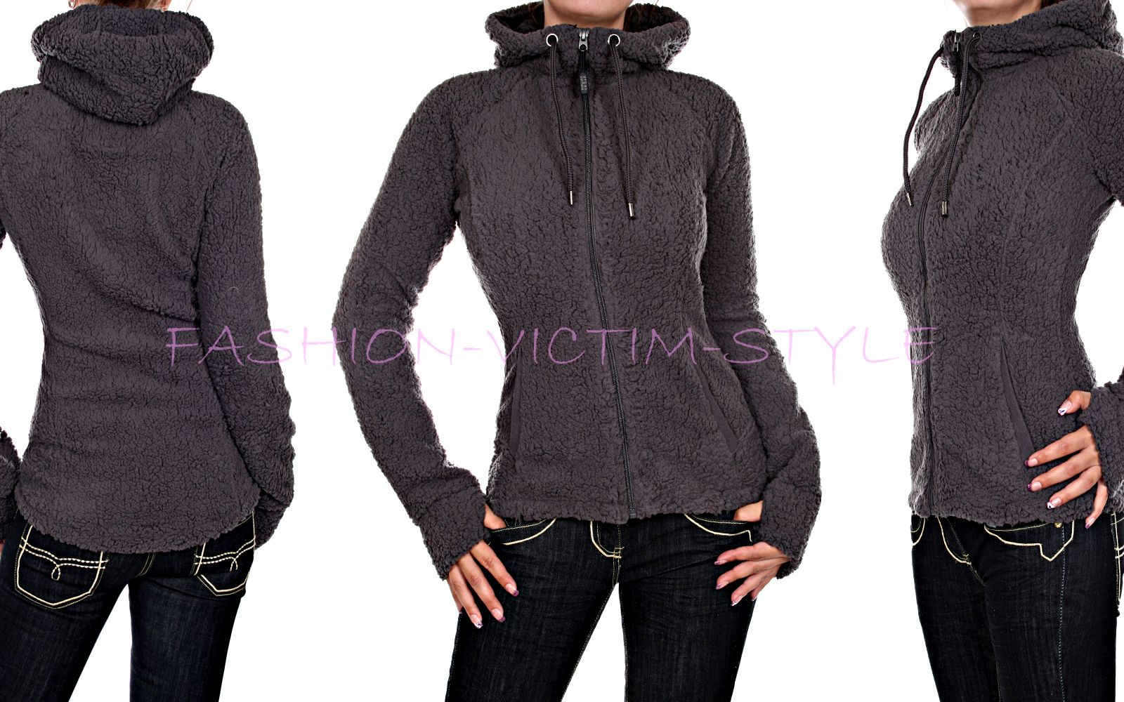 Neu Sweatjacke on Warme Damen Jacke Pullover Fleece Teddy 6vfybYg7