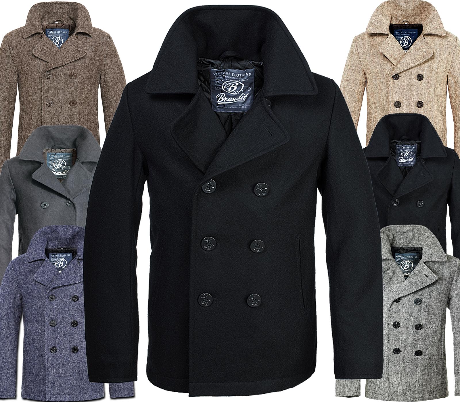 brandit homme laine manteau pea hiver veste parka caban marine ebay. Black Bedroom Furniture Sets. Home Design Ideas