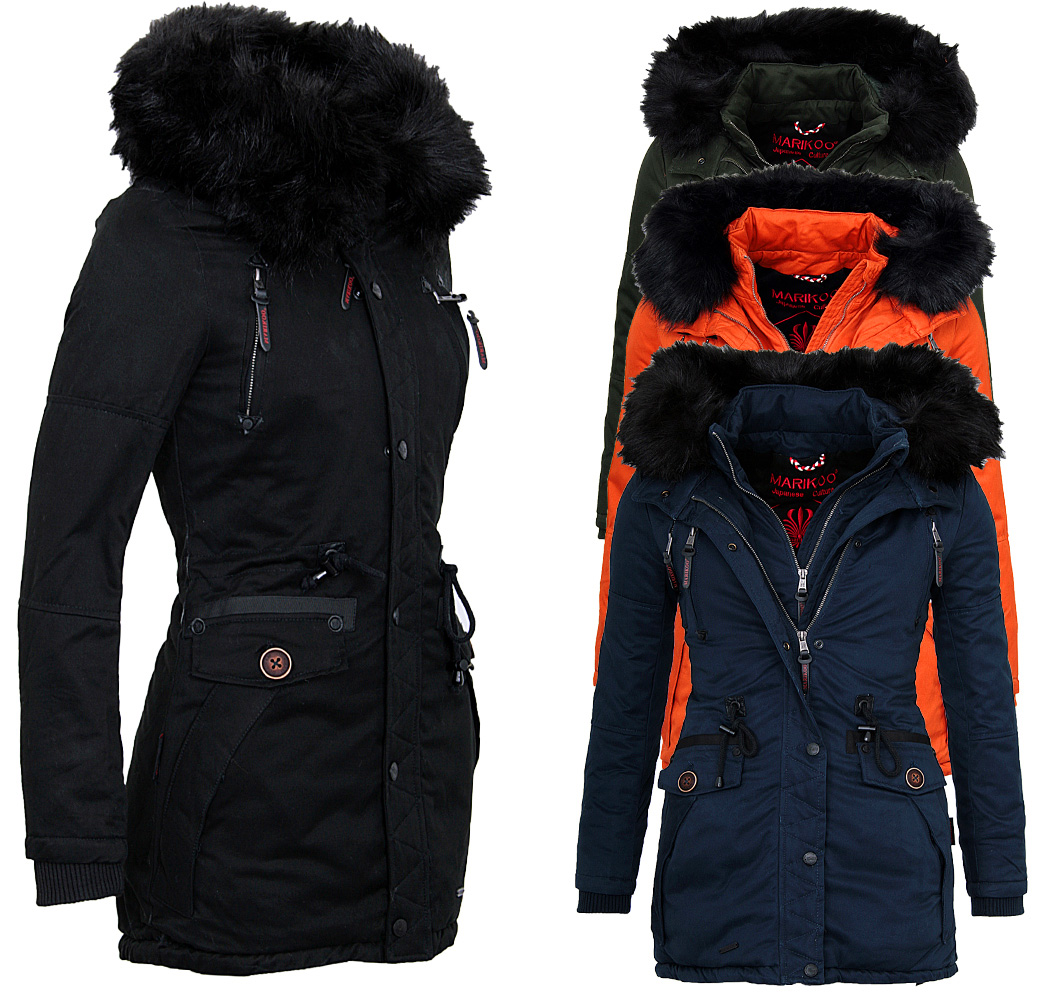 marikoo damen warme winter jacke parka winter mantel. Black Bedroom Furniture Sets. Home Design Ideas