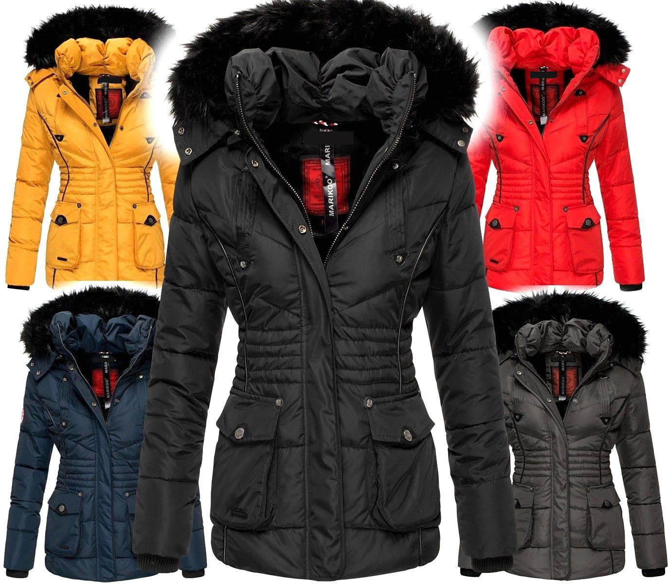 Marikoo Ladies Very Warm Winter Jacket Parka Winter Coat Teddy Fur Vanilla stitching   eBay