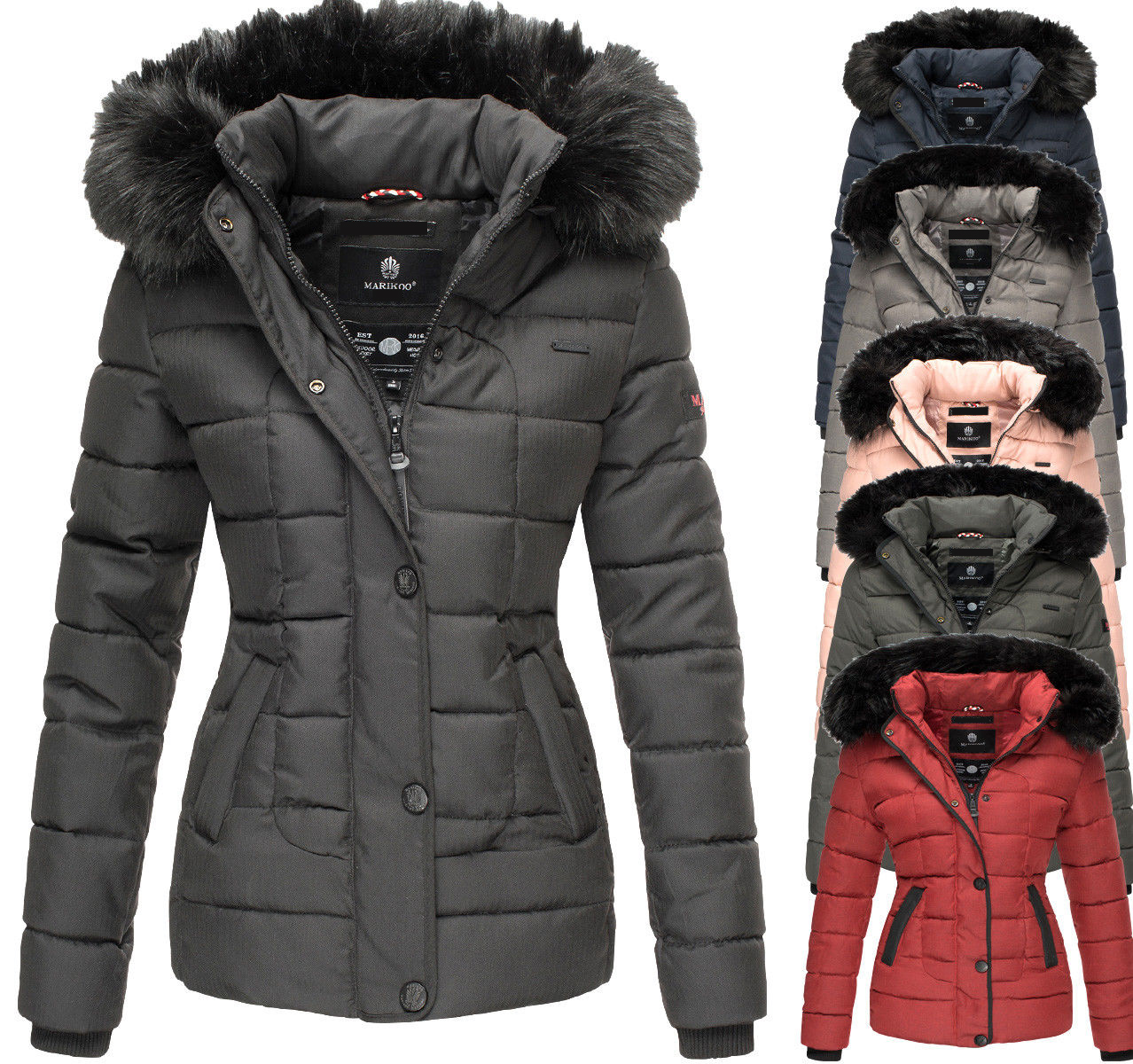 Marikoo Unique Damen Winter Stepp Jacke Parka Kurz Mantel Kunstpelz Kapuze