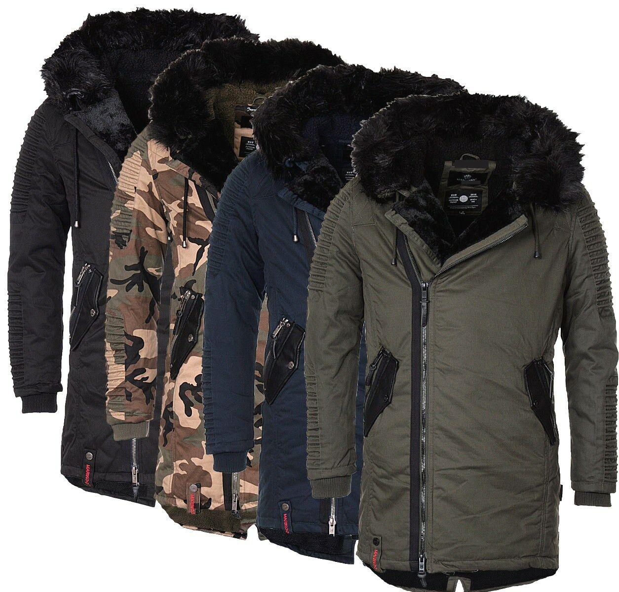 Marikoo Yasuoo warme Herren Winter Jacke Winter Parka mantel wildleder look Neu