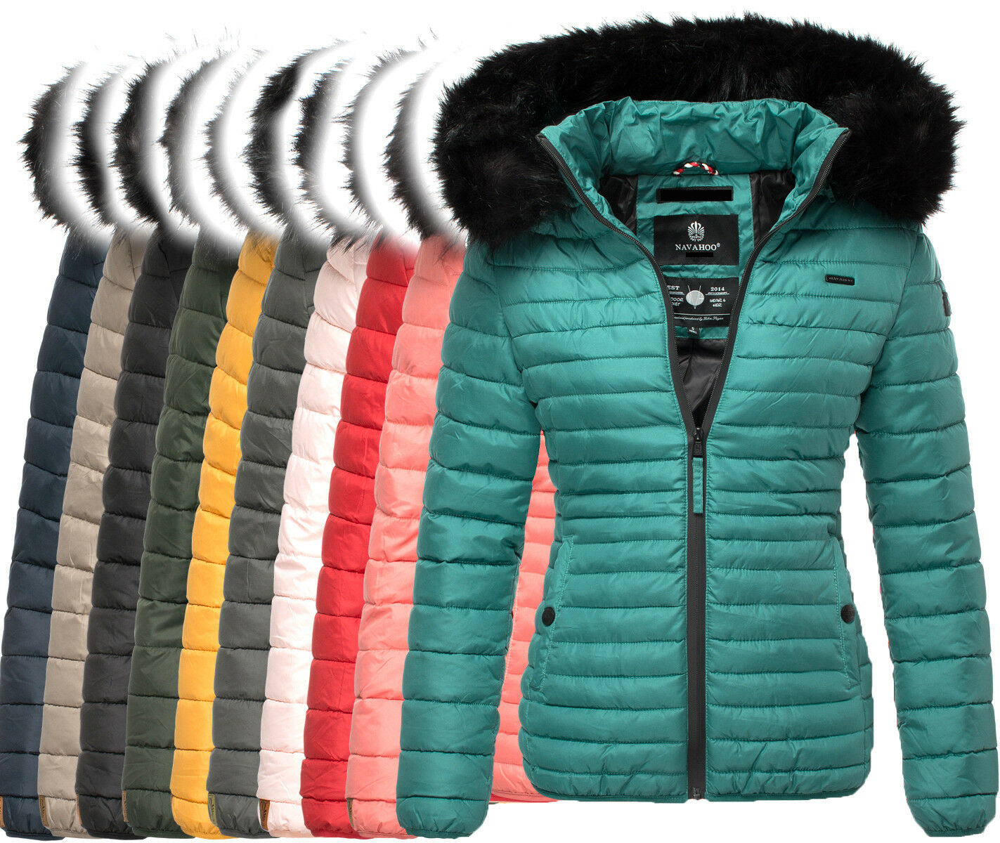 Details about Navahoo Autumn Winter Jacket Ladies Quilted Jacket Faux Fur Collar Hooded Jacket New show original title