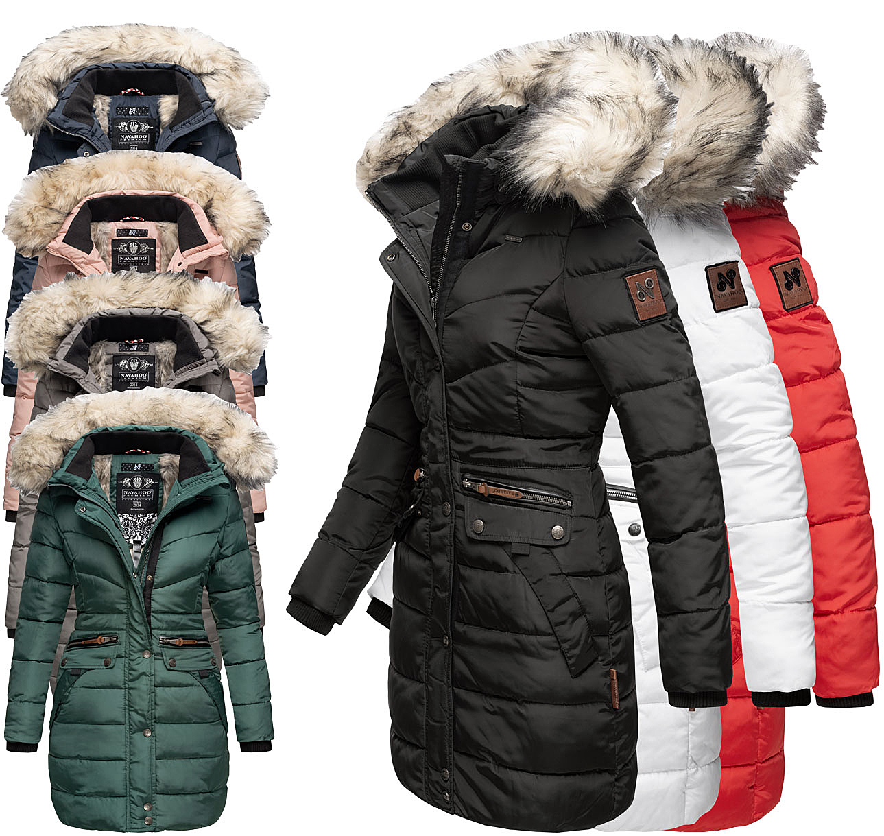 Navahoo AZU Damen Winter Jacke Parka Steppjacke großer Kun
